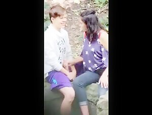 Indian girl Having fun outdoor with foreign guy